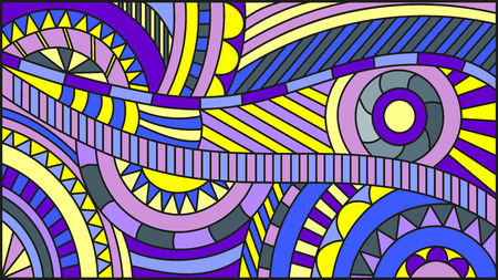 Illustration in the style of stained glass , abstract background with lines and circles Фото со стока - 79815236