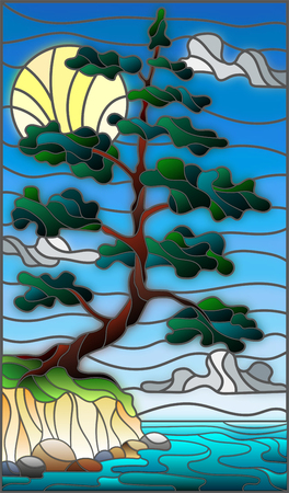 Illustration in the style of stained glass with a lone pine tree standing on the Bank on the background of sky, sun and water Illustration