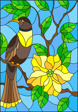 jay: Illustration in the style of stained glass with a beautiful  bird sitting on a branch of a blossoming tree on a background of leaves and sky