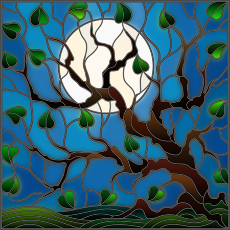 afterglow: Illustration in stained glass style with tree on sky background and moon