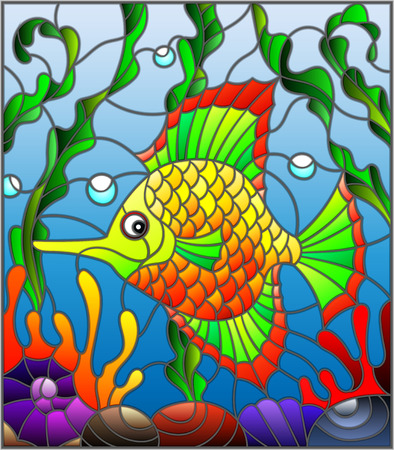 swimming glasses: Illustration in stained glass style with abstract colorful exotic fish amid seaweed, coral and shells