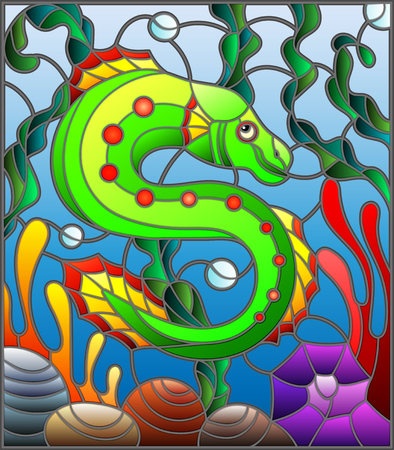 an example: Illustration in stained glass style with abstract colorful exotic fish amid seaweed, coral and shells