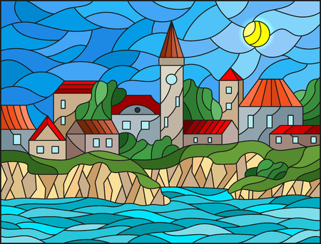 Illustration in stained glass style with river and city on the background of the daytime sky and the sun