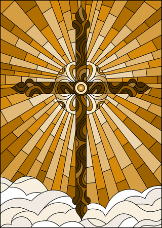 Illustration in stained glass style with the Christian cross on a background of sky and clouds , brown tone, Sepia