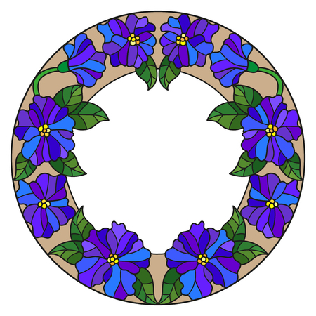 rumour: Illustration in stained glass style flower frame, blue flowers and leaves on a white background