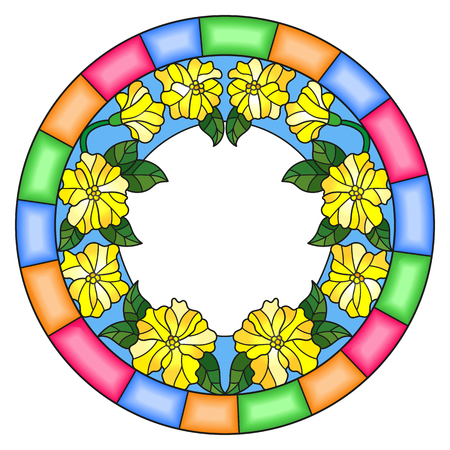 Illustration in stained glass style flower frame, yellow flowers and leaves on a white background Illustration