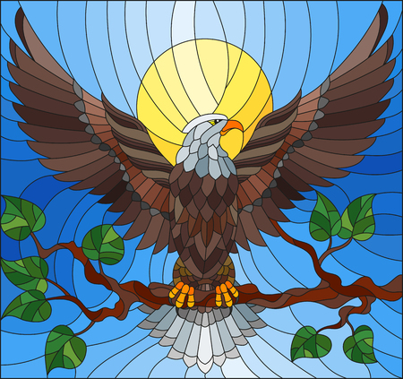 Illustration in stained glass style with fabulous eagle sitting on a tree branch against the sky