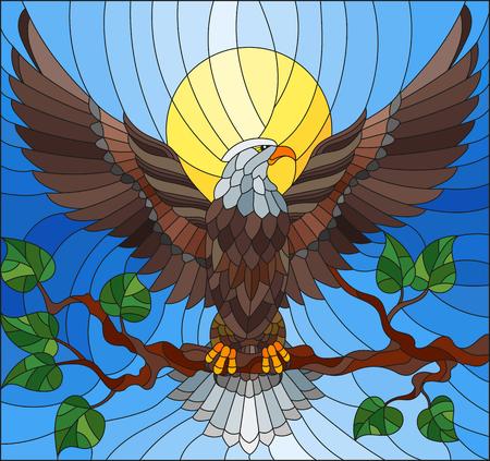 Ilustración en el estilo del vidrio manchado con el águila fabulosa que se sienta en una rama de árbol contra el cielo Foto de archivo - 80000542