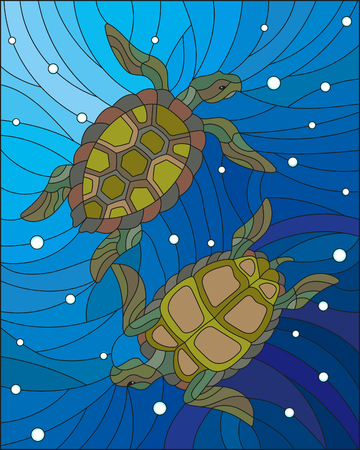 Illustration in the style of stained glass with two turtles on the background of water and air bubbles
