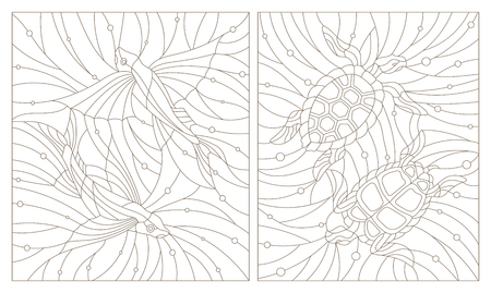 Set contour illustrations of stained glass turtles and flying fishes on the background of water and air bubble