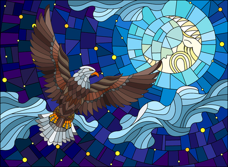 Illustration in stained glass style with fabulous eagle and moon on background night star sky and clouds Illustration