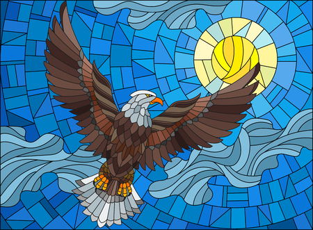 Illustration in stained glass style eagle on the background of sky, sun and clouds