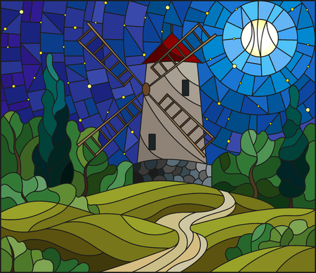 The image in the stained glass style landscape with a  windmill on a background of  starry sky and moon