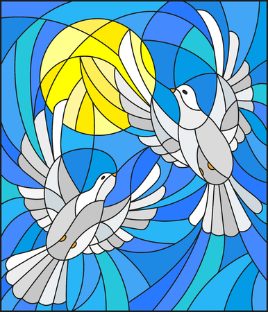 Illustration in stained glass style with a pair of white doves on the background of the daytime sky and clouds