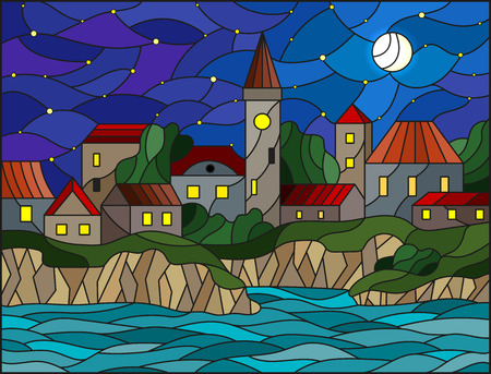 Illustration in stained glass style with river and city on the background of the starry sky and the moon
