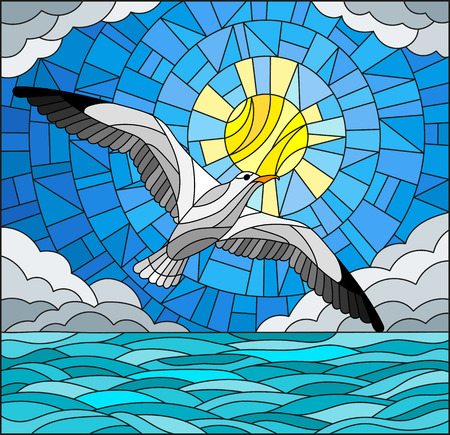 Illustration in stained glass style Seagull on the background of sky, sun , clouds and water