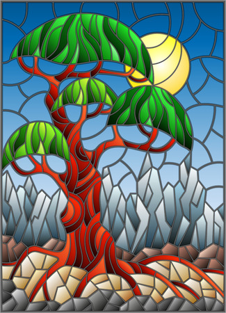 an example: Illustration in stained glass style with green abstract tree on the background of sky, sun and mountains