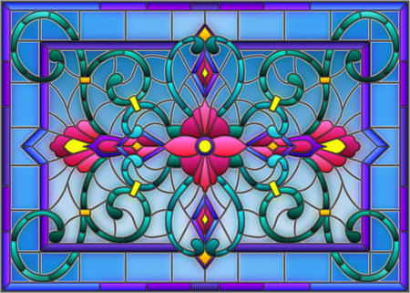 llustration in stained glass style with abstract  swirls,flowers and leaves  on a light background,horizontal orientation Illustration