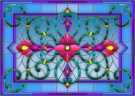 llustration in gebrandschilderd glasstijl met abstracte wervelingen, bloemen en bladeren op een lichte achtergrond, horizontale richtlijn Stock Illustratie