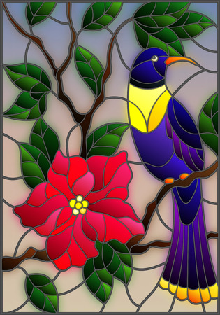 Illustration in the style of stained glass with a beautiful blue bird sitting on a branch of a blossoming tree on a background of leaves and sky
