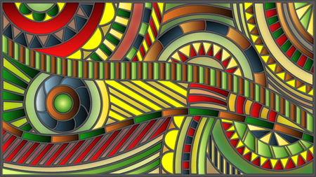 Illustration in the style of stained glass , abstract background with lines and circles