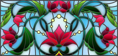 Illustration in stained glass style with abstract pink flowers on a blue background Stock fotó - 80441199