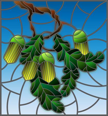 青の背景に未熟などんぐりや葉の葉とオークの枝でステンド グラス風イラスト
