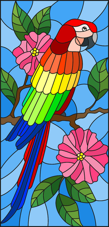periquito: Illustration in the style of stained glass with a beautiful  parakeet sitting on a branch of a blossoming tree on a background of leaves and sky Vectores