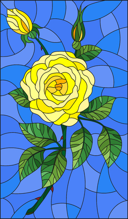rose: Illustration in stained glass style flower of yellow rose on a sky  background