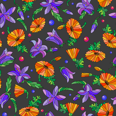 A seamless background with spring flowers in stained glass style, flowers, buds and leaves  on a dark background. Illustration