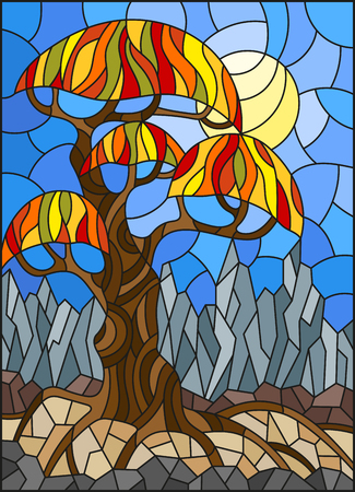 Illustration in stained glass style with autumn abstract tree on the background of sky, sun and mountains.