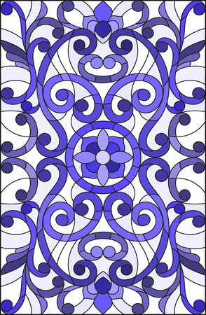 Illustration in stained glass style with abstract  swirls,flowers and leaves  on a light background,vertical orientation gamma blue