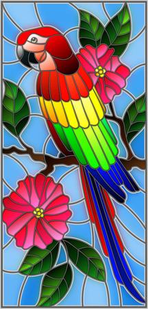 Illustration im Stil der Glasmalerei mit einem schönen Sittich sitzt auf einem Ast eines blühenden Baumes auf einem Hintergrund von Blättern und Himmel
