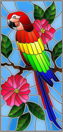 Illustration in the style of stained glass with a beautiful parakeet sitting on a branch of a blossoming tree on a background of leaves and sky