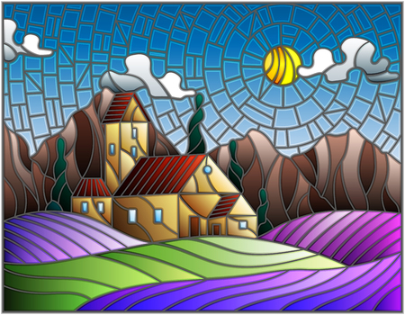 Illustration in stained glass style landscape with a lonely house amid lavender fields, mountains and sky Illustration