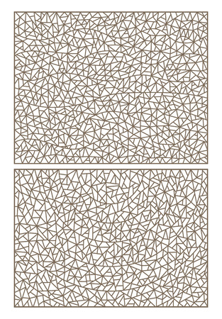 finely: Set of abstract backgrounds contour stained glass, imitation of finely broken glass