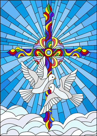 Illustration with a cross and a pair of white doves in the stained glass style Illustration