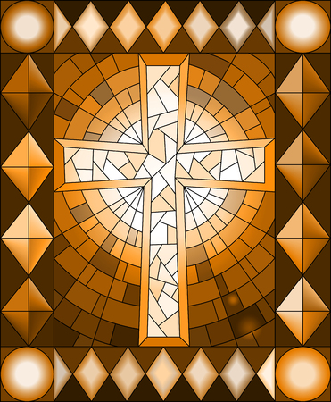 Illustration in stained glass style with a Christian cross,frame, brown tone, Sepia Vector Illustration