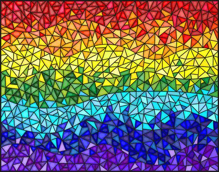 Abstracte gebrandschilderd glasachtergrond, de gekleurde elementen die in regenboogspectrum worden geschikt