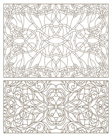 Set contour illustrations of stained glass with abstract swirls and flowers , horizontal orientation Illustration