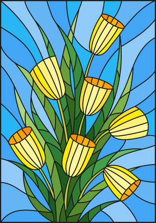 Illustration in stained glass style with a bouquet of yellow tulipson a blue  background