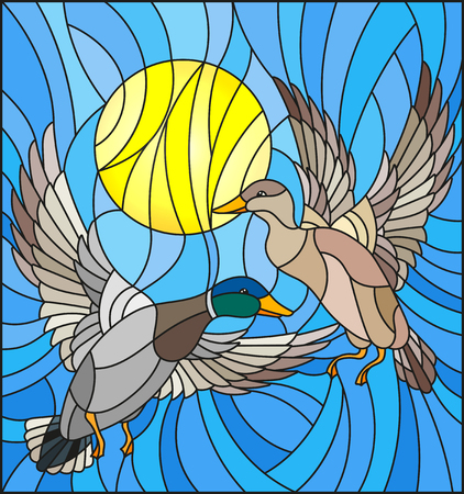 Illustration in stained glass style with a pair of  ducks on the background of the daytime sky and clouds 일러스트