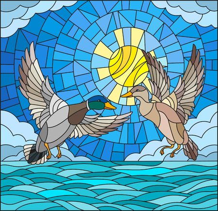 wild venison: Illustration in stained glass style with a pair of  ducks on the background of the daytime sky, water  and clouds