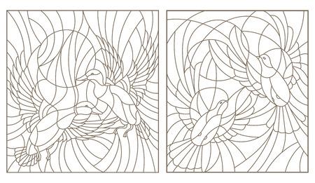Stel contourillustraties in van glas in loodduiven paar duiven en eenden in de lucht en in de zon