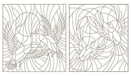 Set contour illustrations of stained glass birds pair of pigeons and ducks in the sky and the sun Illustration