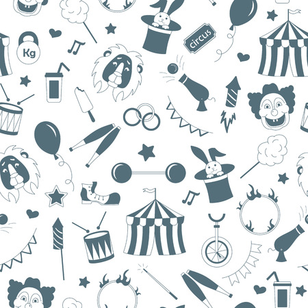 staging: Seamless pattern on the theme of circus,  a grey silhouettes of icons on the white background