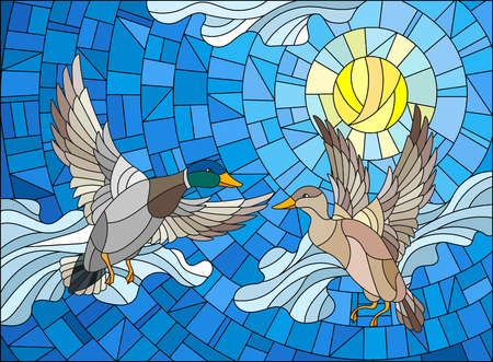 Illustration in stained glass style with two ducks on the background of sky, sun and clouds