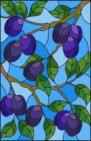 Illustrazione nello stile di una vetrata con i rami di susino, i rami, foglie e frutti contro il cielo