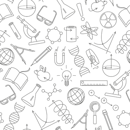 scholar: Seamless pattern on the theme of science and inventions, diagrams, charts, and equipment, simple contour icons on white background