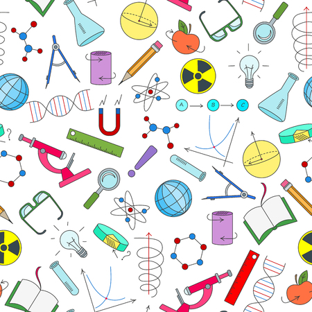 Seamless pattern on the theme of science and inventions, diagrams, charts, and equipment, simple icons on white background